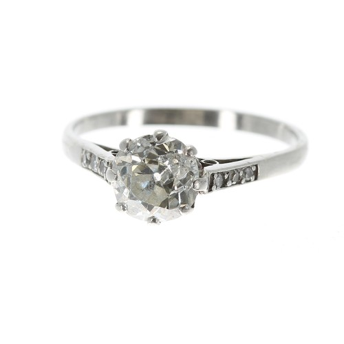 Antique platinum round old-cut solitaire diamond ring with set shoulders, 1.25ct approx, clarity I, colour I-J, 2.9gm, 7.5mm, ring size O