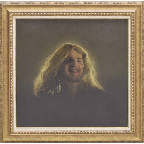"""Richard Ewen (1928-2009) - 'The Laughing Christ', signed Ewen and dated 24.AD 1996, also inscribed on a further label attached to the stretcher verso with the title of the work and the artist's address at Willowbrook, The Green, Biddestone, Chippenham..., oil on canvas, 30"""" x 30"""""""