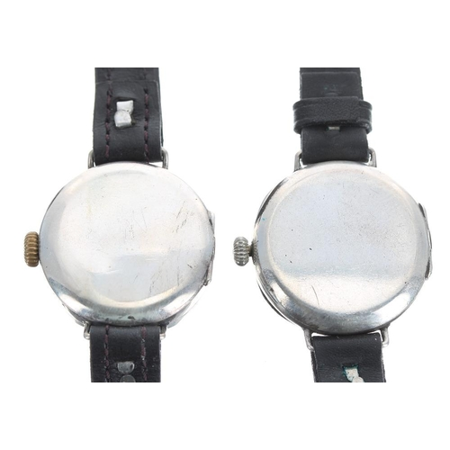 553 - Two silver wire-lug ladies wristwatches, modern black leather straps, 26mm