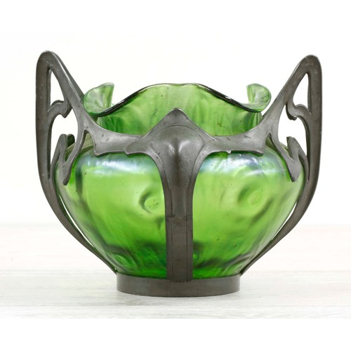 """Art Nouveauiridescentgreen glass vase in a stylised pewter mount byVan Houten, the vase with a frilled rim and dimpled body, stamped marks and number 2574, 5.5"""" high"""