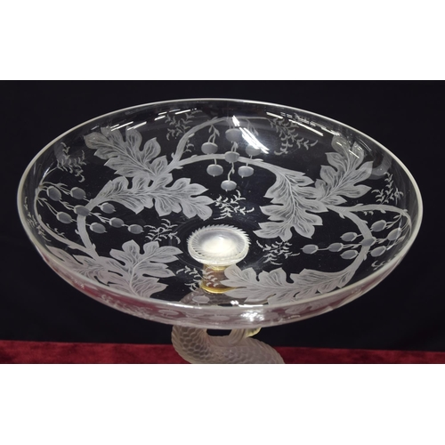 1020 - Baccarat glass comport,the dish top with engraved fruit and foliate decoration upon a frosted dolph...