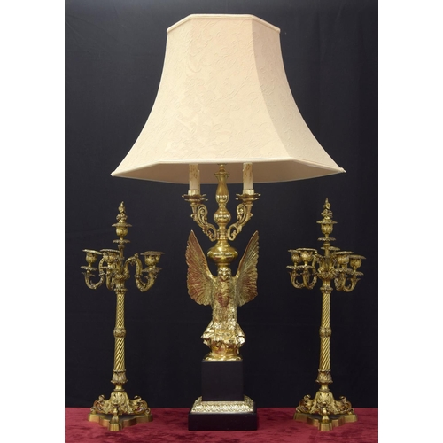 """Large decorative and heavy brass lamp in the Classical style, modelled as an open winged eagle upon a square plinth, with shade, ?"""" high overall including the shade"""