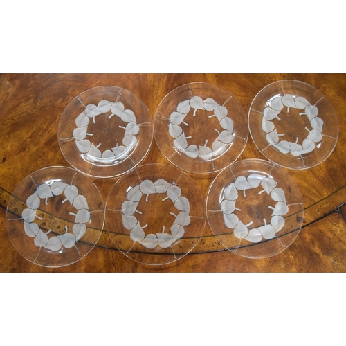 1005 - Set of six Lalique leaf design clear and frosted glass side plates, each signed, 7.75