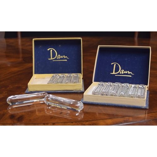 1032 - Two sets of six Daum clear glass knife rests, circa1950s, 3.75