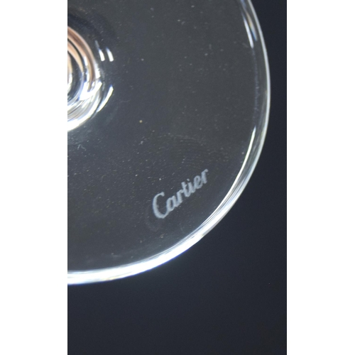 1040 - Set of four Cartier champagne glass flutes in a Cartier box, each signed, 9