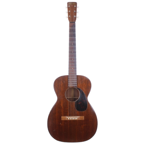 1959 C.F. Martin & Co 0-15 acoustic guitar, made in USA, ser. no. 1xxxx0; Back, sides and top: mahogany; Finish: lacquer checking and blemishes consistent and expected for age; Fretboard: rosewood, minor wear to first position; Frets: generally good with indent wear showing to first two positions, refret; Hardware: good; Case: period semi-rigid fibreboard case; Weight:1.50kg; Overall condition: good for age