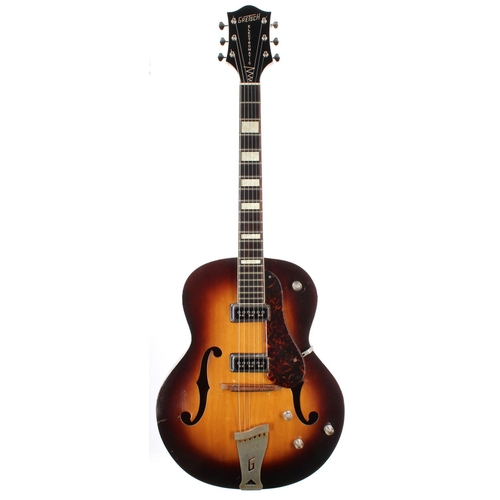 """1953 Gretsch 6187-8 Electro II hollow body electric guitar, made in USA, ser. no. 8xx7; Finish: sunburst, generally good for age with some minor dings and marks as to be expected; Fretboard:rosewood; Frets: good; Electrics: working; Hardware: good, later tuners; Case: Original 1950's Frost and Stone Gretsch """"G"""" Branded Hardcase; Weight: 3.06kg; Overall condition: good"""