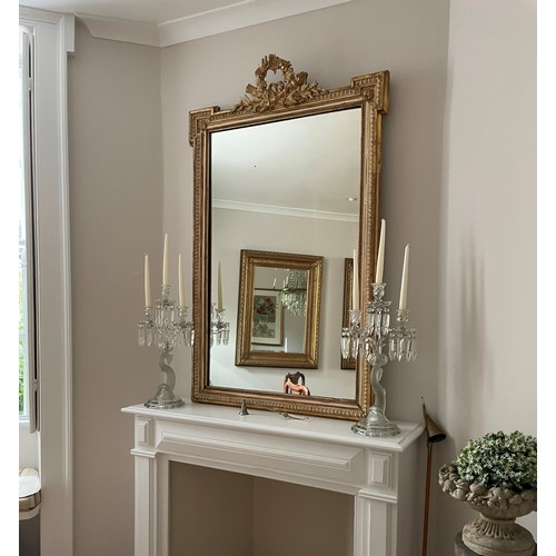 """Antique French cream painted and gilded gesso overmantel wall mirror, 57"""" x 36"""""""