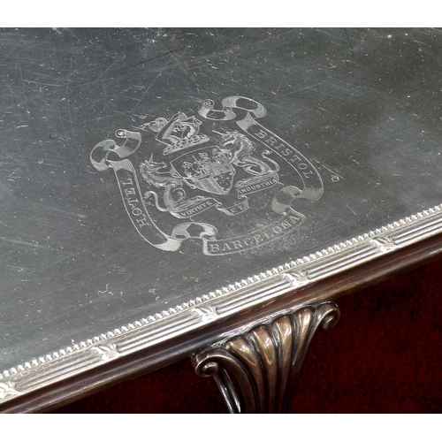1047 - Large silver plated hot plate serving stand, with engraved crest for 'Hotel Bristol Barcelona', with...