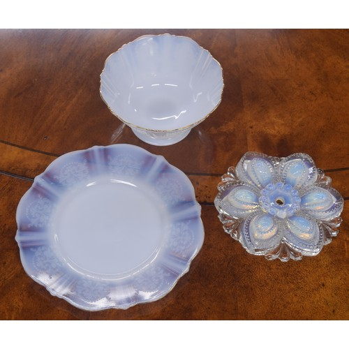1038 - French opalescent glass breakfast set comprising three and six small plates, seven footed bowls, two...