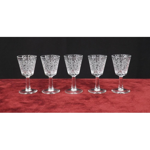 1017 - Baccarat 'Rohan' five liqueur drinking glasses, moulded 'France' mark to each, 3.25