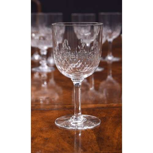 1018 - French suite of drinking glasses, possibly Baccarat, with bubble effect decoration comprising,seven...