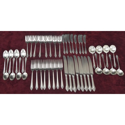 1056 - Reed & Barton forty eight piece - eight sitting sterling cutlery set,comprising eight knives 9