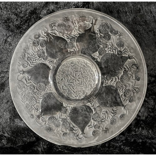 1007 - Lalique 'Vases' clear and frosted glass circular plate, moulded 'R.LALIQUE' mark, 9.25