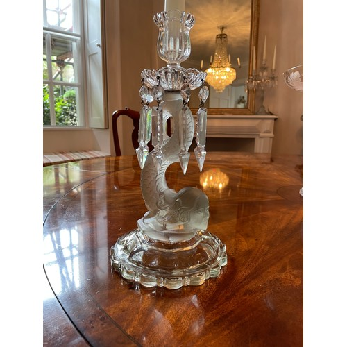 1022 - Pair of Baccarat clear and frosted glass candlesticks, the sconces applied with pendant lustre drops...