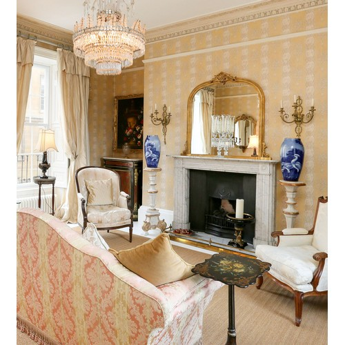 1024 - Baccarat twin-branch candelabrumwith etched storm shades, the sconces with facetted drops drops, ac...