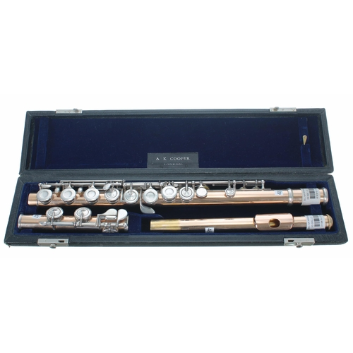 Fine and rare gold fourteen carat rose gold flute with silver keywork by Albert Cooper, no. 132, within original fitted case bearing the label of A.K. Cooper, London