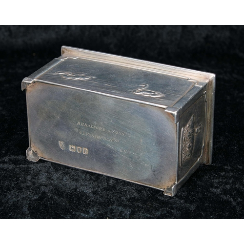 505 - Arts & Crafts smallsilver casket, decorated in low relief with swans to the front and rear, and...