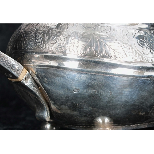 510 - George III three piece boat shaped silver tea set, comprising teapot 6