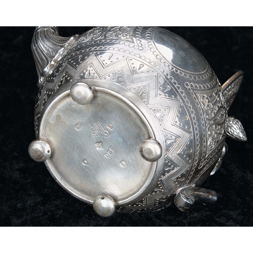515 - Victorian silver bachelor three piece tea set, comprising tea pot 4.25