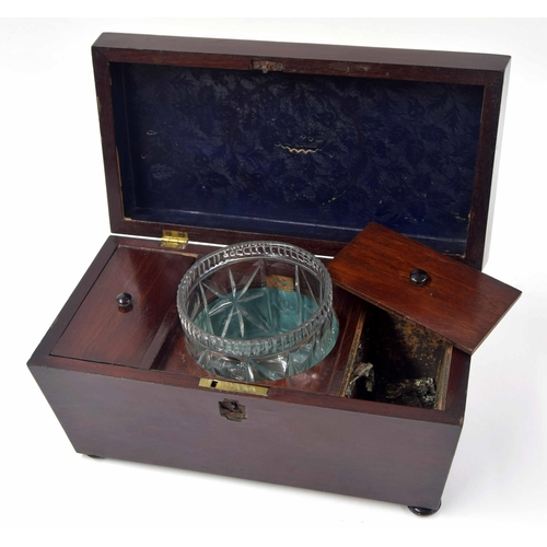 566 - Victorian mahogany sarcophagus tea caddy, the hinged cover enclosing a divided interior with sympath...