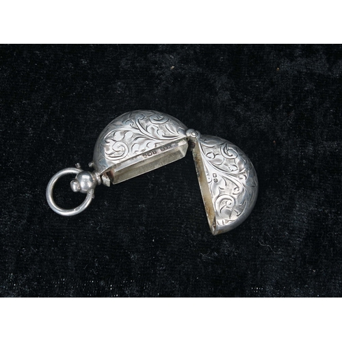 524 - George V silver sovereign case, the foliate engraved case hinged at the base, maker W H Haseler, Bir...