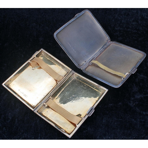 529 - Harman Brothers engine turned silver cigarette case, initialled 'AC', Birmingham 1932, 2.75
