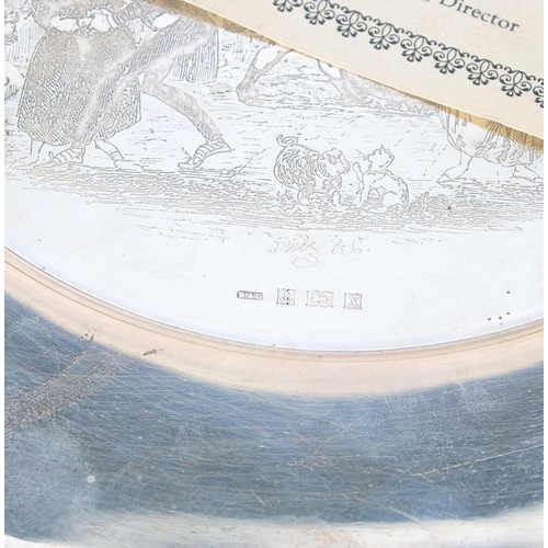 536 - Robert & Dore Ltd. Limited Edition Sterling silver Pickwick Christmas Plate, etched with a Phiz ...