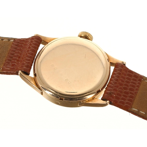 15 - Omega 14ct mid-size wristwatch, circular bronze dial with quarter Arabic numerals, hour markers, min...
