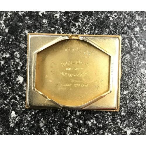 9 - Bulova 9ct rectangular gentleman's wristwatch, rectangular silvered chequered dial with gilt applied...