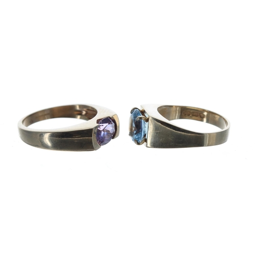 56 - 9ct oval amethyst single stone ring, 1.00ct approx, width 6mm, 5.1gm, ring size O; together with a 9...