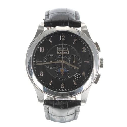 10 - Zenith Grande Class El Primero automatic moonphase calendar chronograph stainless steel gentleman's ...