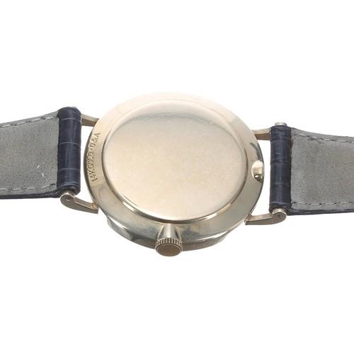 7 - Gruen Precision 14ct gentleman's wristwatch, engine turned sunburst dial with applied baton markers,...