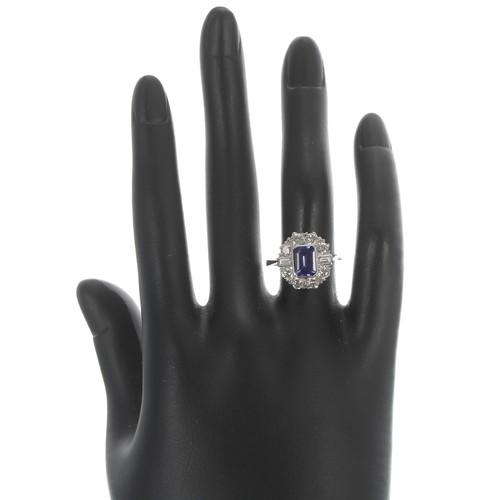 45 - Attractive tanzanite and diamond platinum cluster ring, the tanzanite of good colour 1.30t approx, i...