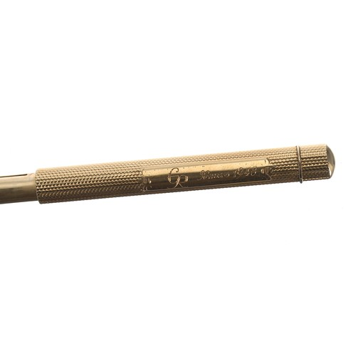 23 - Sampson Mordan & Co. rare yellow metal engine turned combination propelling fountain pen and pen...
