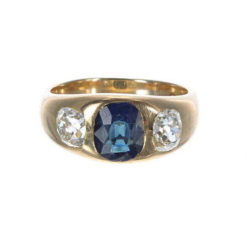 42 - 18ct yellow gold sapphire and diamond gentleman's three stone ring, the sapphire 1.80ct approx, old ...