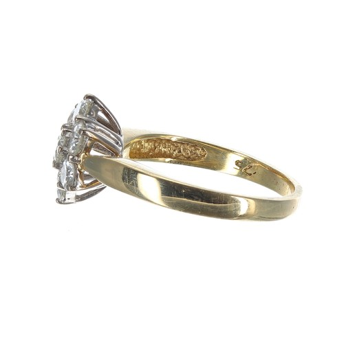 32 - 18ct yellow gold seven stone diamond cluster ring, 0.70ct approx, clarity SI, colour I/J, 3.5gm, 11m...