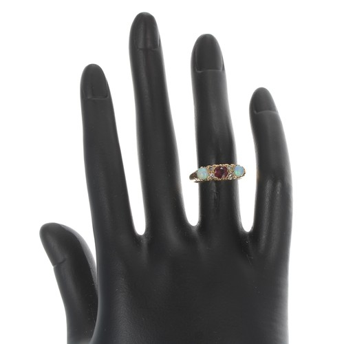 44 - 18ct yellow gold claw set opal, ruby and diamond ring, width 5.5mm, 5gm, ring size J...