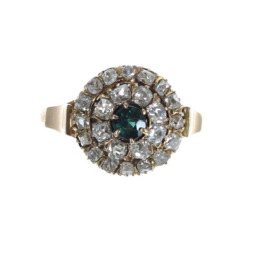 52 - Antique 18ct yellow gold sapphire and diamond cluster ring, the sapphire 0.15ct, in a two row border...