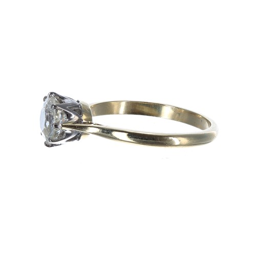 54 - 18ct yellow gold solitaire diamond ring, old-European-cut, 1.10ct approx, clarity SI, colour K/L, 2....