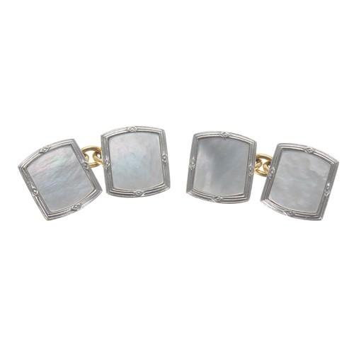 34 - Pair of 18ct and platinum mother of pearl cufflinks,7gm, 13mm x 11mm
