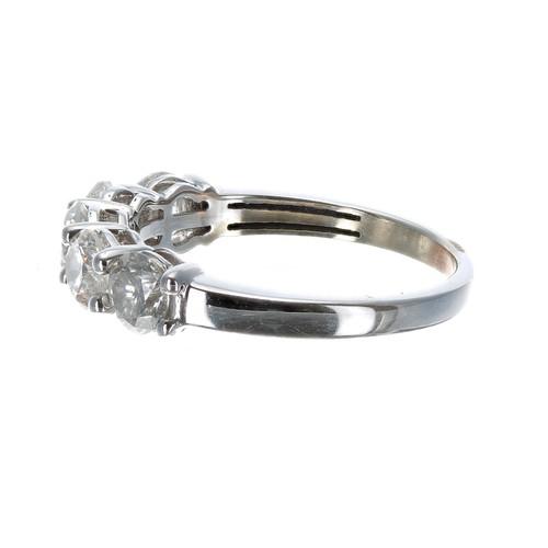 39 - White gold five stone diamond ring, round brilliant-cut, estimated 2.00ct approx, clarity SI, colour...