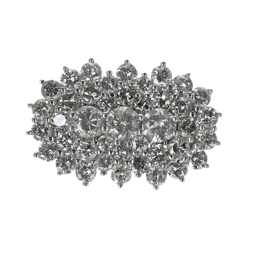 43 - Fancy white gold diamond boat shaped design cluster ring, round brilliant-cut diamonds, estimated 1....