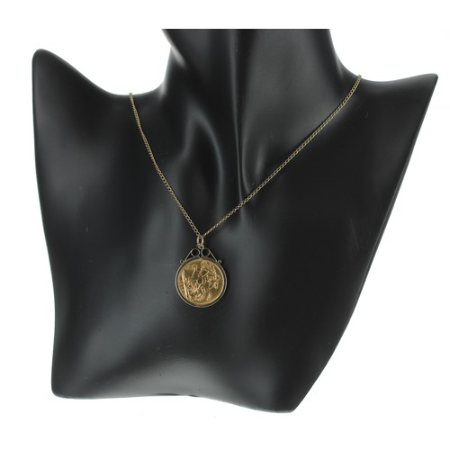 48 - 1912 full sovereign coin in a 9ct mount and upon a slender9ct necklace, 13gm, the necklace 20