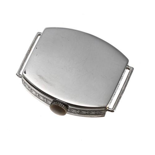 13 - 18ct white gold diamond set tonneau lady's wristwatch,import hallmarks for London 1919, silvered di...