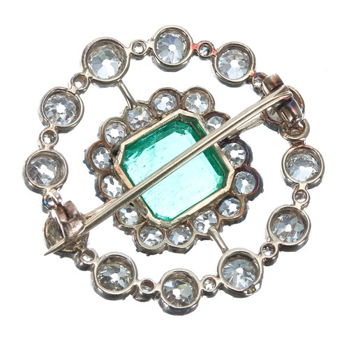 201 - Fine quality emerald and diamond openwork double border circular cluster brooch,square emerald-cut ...