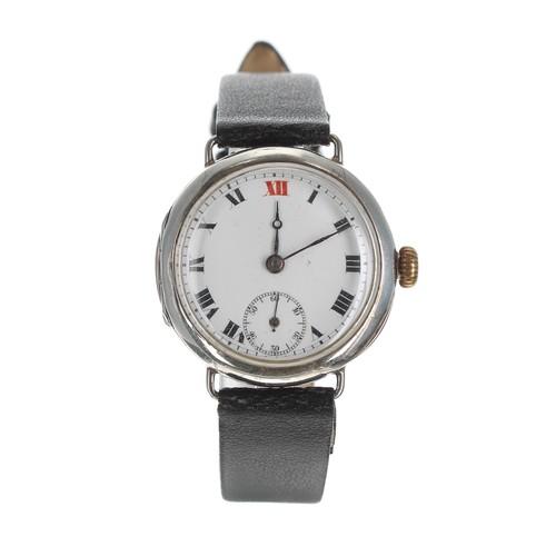 11 - Rolex WWI period silver wire-lug wristwatch, import hallmarks for London 1916, white dial with Roman...