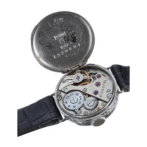 14 - Platinum diamond set lady's cocktail watch, silvered dial with a diamond set bezel, Dogma 15 jewel m...