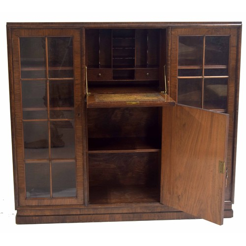 1000 - Art Deco walnut bureau bookcase, the fall front hinged door enclosing fitted stationary secretaire w...
