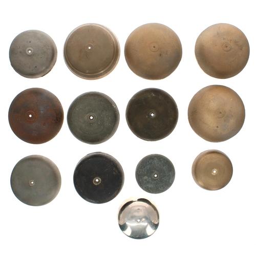 1461 - Ten various size old clockbells; also three new longcase clock bells (13)...